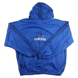 Vintage 90s Adidas Blue Striped Hooded Windbreaker
